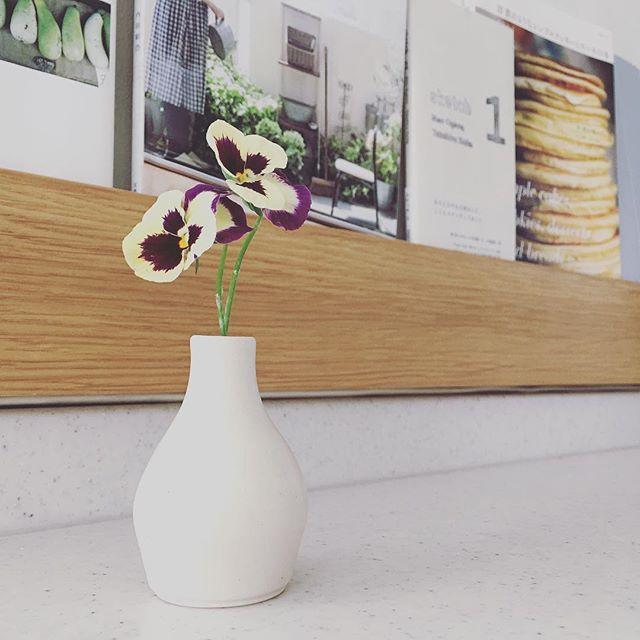 小さな花器にビオラを添えて