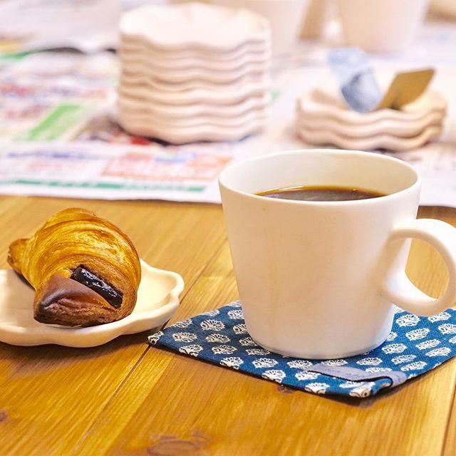 作業の合間にコーヒーブレイク。