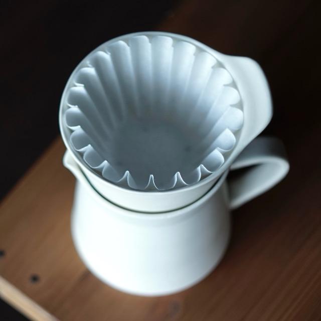 半磁器製の白いコーヒードリッパーを上から見た写真