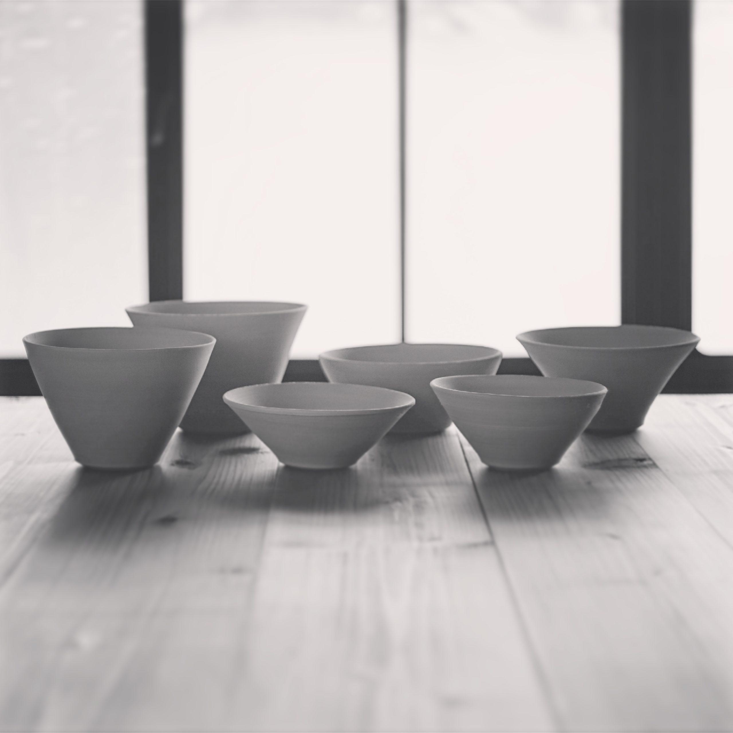 さまざまな形のボウルの試作品